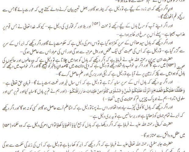 Khawab Nama khwab main abar baadal dekhna ki tabeer